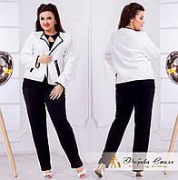 Белый женский пиджак с окантовкой