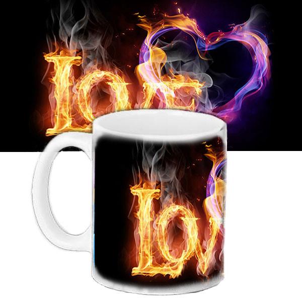 Чашка подарок с принтом Огненная любовь
