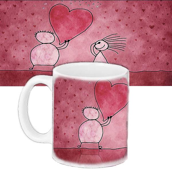 Чашка подарок на день влюбленных с принтом