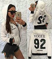 ХИТ!!! Женская куртка ветровка бомбер VOGUE 92 с капюшоном и карманами белая S M L XL