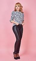 Модные лосины с высокой посадкой с вставками стеганной кожи 42-50 размера