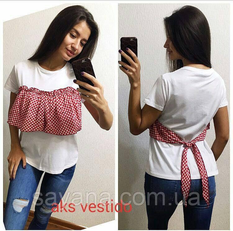 Женская футболка- имитация в расцветках, Турция. Ак-161-0417