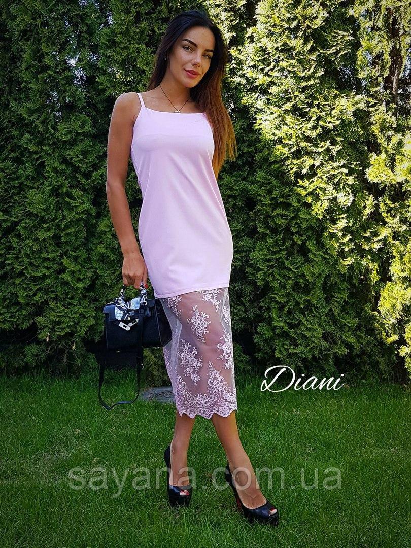 Красивое женское платье с кружевом в расцветках. ЕД-252-0417