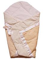 Конверт Одеяло для новорожденных на выписку весна лето осень 80х80см Горошек песочный