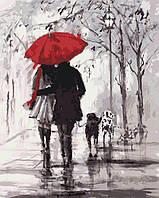 """Акриловий живопис за номерами """"Пара під червоною парасолькою"""" полотно 40*50 см без коробки"""