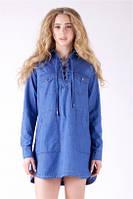 Женская джинсовая рубашка-платье Ф-4