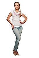 Вышитая футболка Мелания белая