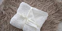 Ажурный вязанный плед на трикотаже Молочный