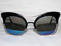 Очки в стиле Louis Vuitton 6689 золото синий зеркальные