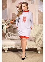 Женская туника с капюшоном Сова красная размер 48-72