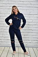 Женский спортивный костюм со змейками 0336 цвет синий размер 42-74