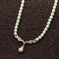 """Женское жемчужное ожерелье """"Любисток"""" позолота 750 пробы"""