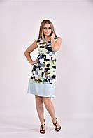 Женское приталенное платье летнее 0491 цвет зеленый принт размер 42-74 / большого размера