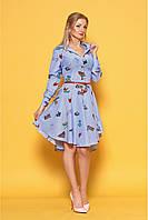 Женское платье рубашечного кроя 980 цвет голубой размер 42-50