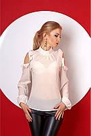Женская нарядная блуза 387 цвет молочный размер 42-52