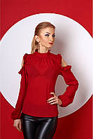 Женская нарядная блуза 387 цвет бордо размер 42-52