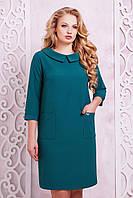 Женское платье прямого покроя Мишель цвет изумруд размер 50,52,54