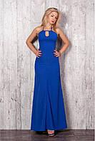Женское cтильное макси-платье цвет электрик размер 42-48