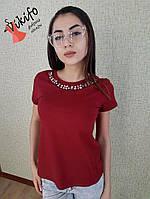 Красивая женская футболка с украшением,в расцветках