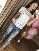 """Фирменная женская футболка """"Chanell"""" (фабричный Китай, хлопок , короткий рукав, знак и цветок шанель)"""