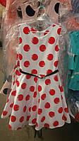 Детское платье в красный горох с поясом