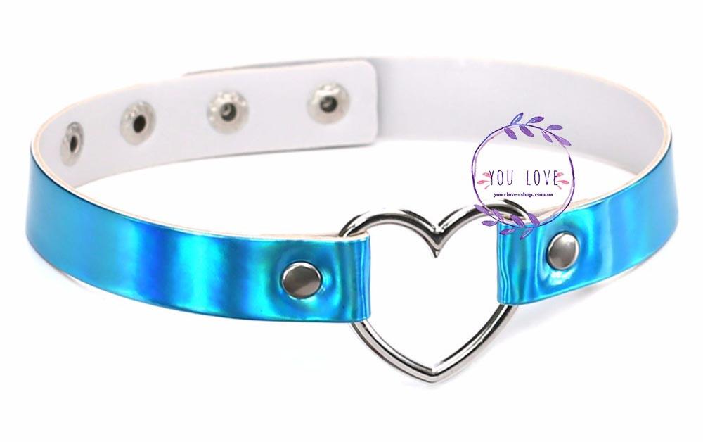 Голографический чокер с сердцем радужный серебряный Голубой