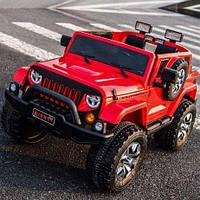 Детский электромобиль Джип Внедорожник M 3445 EBLR-3, EVA колёса, кожа, красный