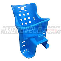 Кресло детское пластиковое на велосипед, багажник Синее