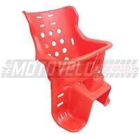 Кресло детское пластиковое на велосипед, багажник Красное