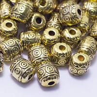 Бусины Бочка, Металл, Цвет: Античное золото, Размер: 6х6мм, Отв-тие: 2мм, (УТ0026716)