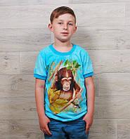 Футболка на мальчика (от 5 до 12 лет) мятный и синий цвет