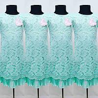 """Кружевное платье """"Глория"""" цвет """" бирюза""""для девочек от 6 до 11 лет (32-38размер)"""