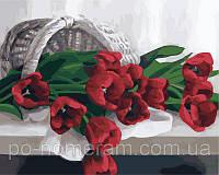 Игра Картины по номерам (KH2064) Корзина с тюльпанами (40х50)