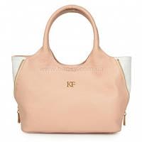 Женская кожаная сумка Katerina Fox бежево-розового (нюда) цвета из натуральной кожи (KF-1094)