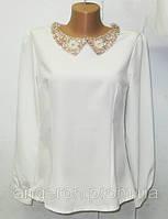 Блузка с воротничком с бисером с вышитым воротником белая S M L