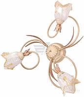 Люстра припотолочная  Геотон НПБ 01-3х60-174 Рома-В837 3х60 Вт E14 белый с золотистым 44883