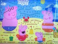 Картина из пайеток Свинка Рepa на пляже