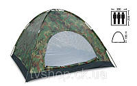 Палатка 3-х местная SY-011 (р-р 2,0*2,0*1,35м, Pl, хаки)
