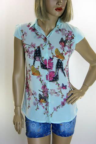Блузка  с воротничком  и принтами , фото 2