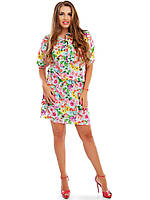 """Приталенное шелковое платье в цветочек """"Fiona"""" с коротким рукавом (большие размеры)"""