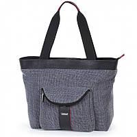 Женская сумка Dolly 469 серая классическая под формат А-4 с карманами размер 40см х 30см х 20см