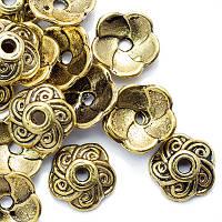 Шапочки для Бусин Металлические, Цветок, Цвет: Античное Золото, Размер: 9х9х2.5мм, Отверстие 1мм, (УТ0010078)