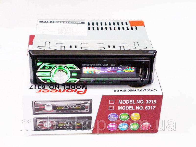 Автомагнитола пионер Pioneer 6317 Usb+RGB подсветка+Sd+Fm+Aux+пульт (4x50W)