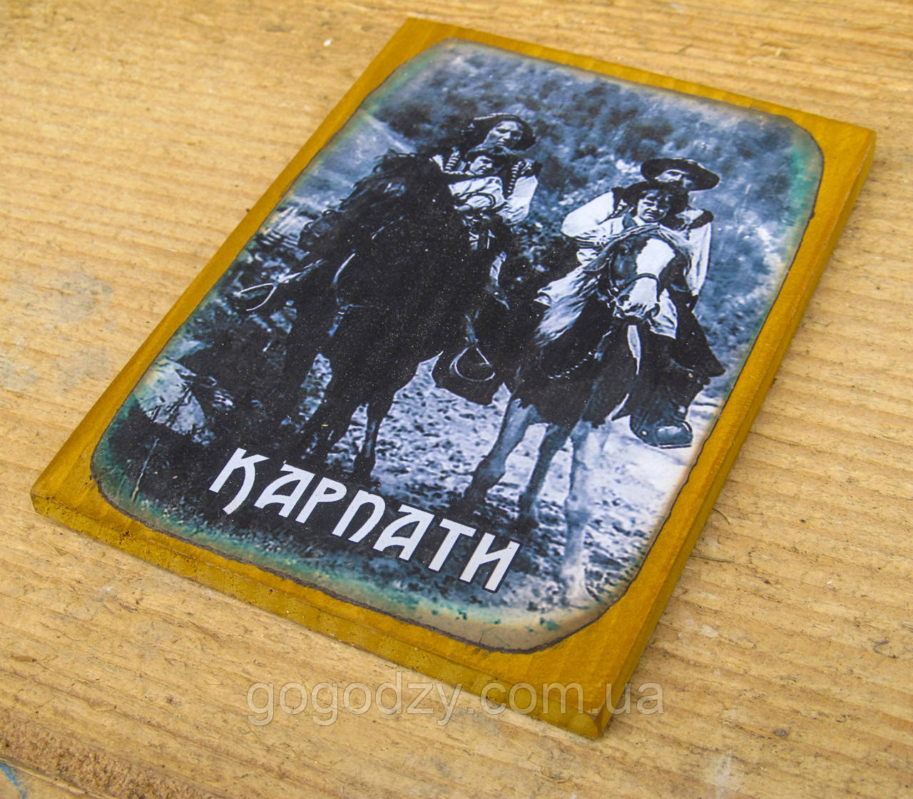 """Дерев'яна яний магнітик на холодильник """"Карпати"""" - 2"""