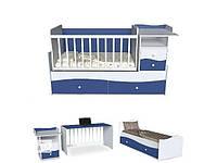 Детская кровать трансформер Волна 2 с маятником и пеленатором синяя с белым