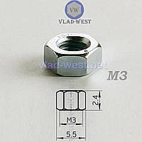 Гайка шестигранная оцинкованная DIN 934 М3