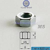Гайка шестигранная оцинкованная DIN 934 М5