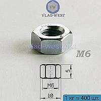 Гайка шестигранная оцинкованная DIN 934 М6