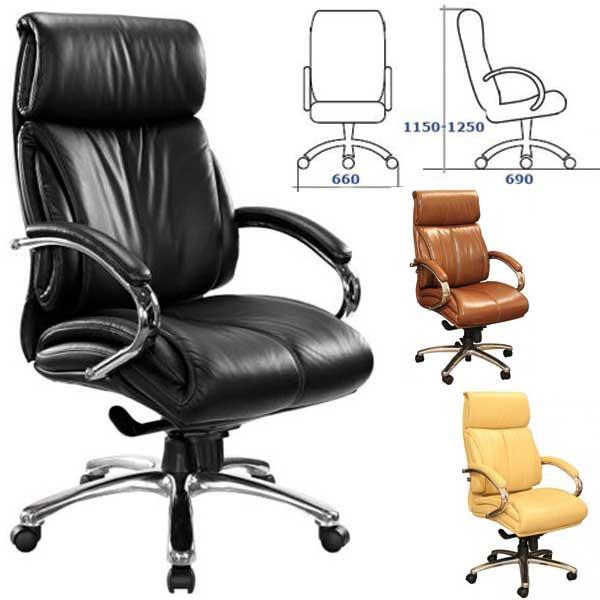 Кресло Аризона (ПМК) HB  Хром Комбинированная кожа Люкс. Габариты кресла : 69х66 см. Высота min.: 115 см. Высота max.: 125 см.
