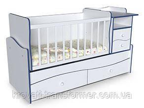 Дитяче ліжко трансформер з маятником столом і пеленатором Хвиля 2 Біла з синім кромкою